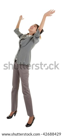 young girl in a gray business suit on white background