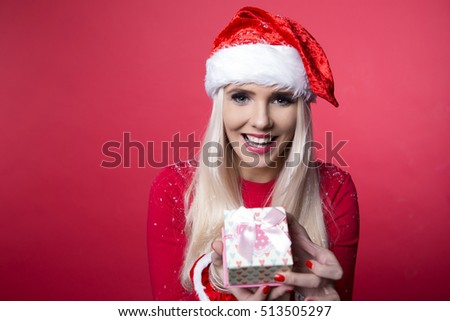 Young girl in christmas outfit. Woman with ribbon box gift. Santa claus celebration holidays relax lifestyle concept.