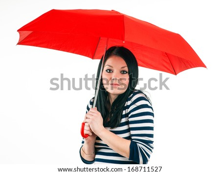 Young girl is protected from bad weather with a red umbrella, isolated on white making