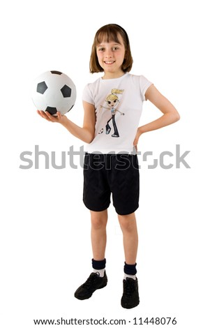 Young girl ready for a game of soccer