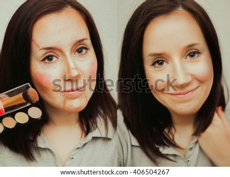 Young girl showing before and after shadow and highlight contouring makeup