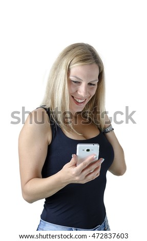Young girl using smart phone,selfie, typing, calling, talking.