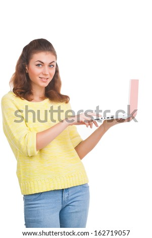 Young girl with laptop on white background