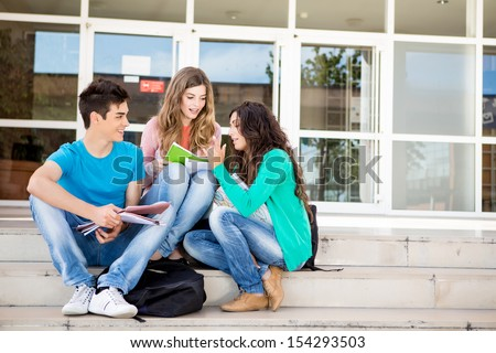 Young group of students in school campus