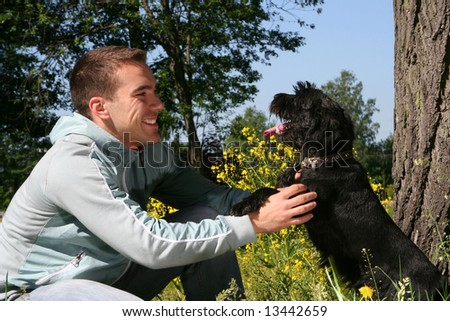 young guy with dog
