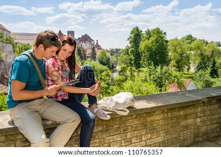 Portrait cheerful caucasian couple running outdoors stock for Awesome vacations for couples