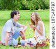 Young happy couple with wineglasses having fun at picnic outdoors - stock photo