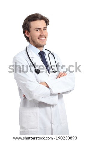 Young happy doctor man posing with folded arms smiling confident isolated on a white background