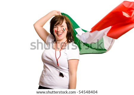 young happy female with italian flag, and small italian flags on her cheeks, all isolated on white background