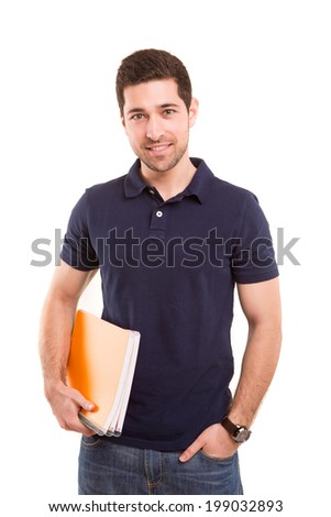 Young happy student posing isolated over white background