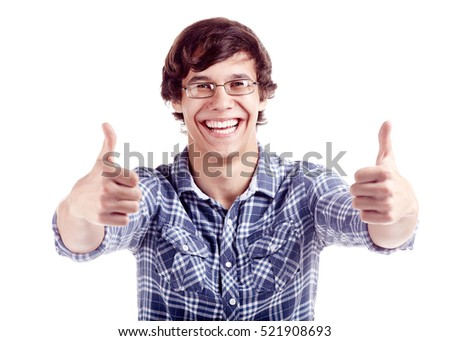 Young hispanic man wearing glasses and blue shirt showing thumb up hand gesture with both hands and laughing isolated on white background - success concept