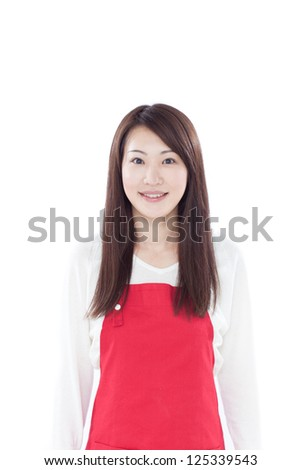 young housewife with red apron, isolated on white background