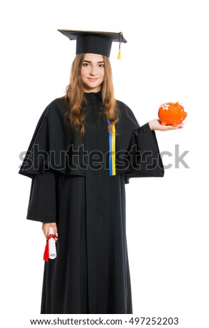 Young lady graduate in gown holding a diploma isolated on white background.