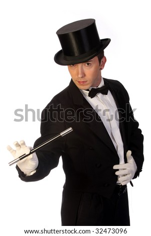 young magician performing with wand on white background