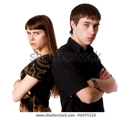 young man and woman isolated on white background