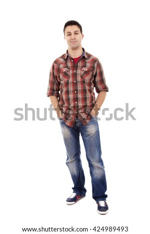 Young man in casual clothes posing over white background
