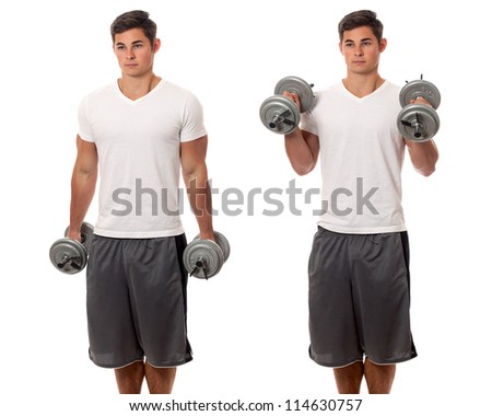Young man lifting weights. Studio shot over white.