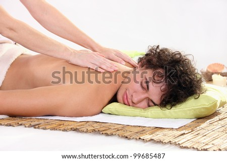 young man relaxing at a spa
