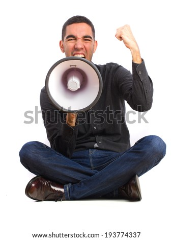 young man shouting on a megaphone