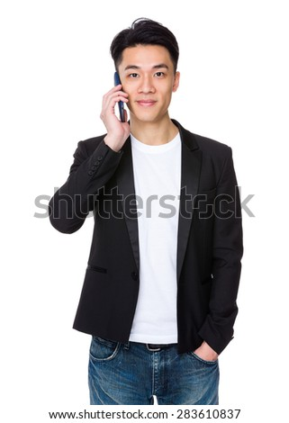 Young man talk to cellphone