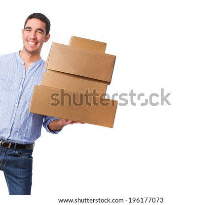 young man with boxes