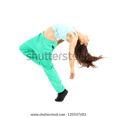 young modern dancer  posing, isolated on white