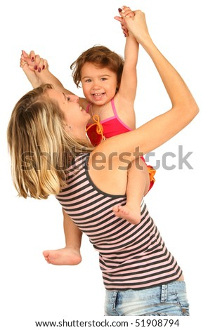 Young  mother with baby girl on white background