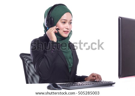 young muslim women helpline operator talking isolated on white background
