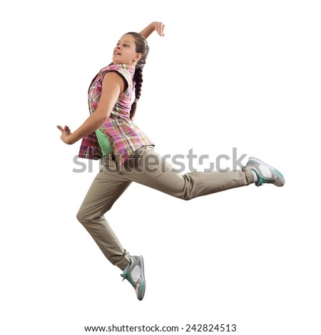 Young pretty girl dancer in jump isolated on white