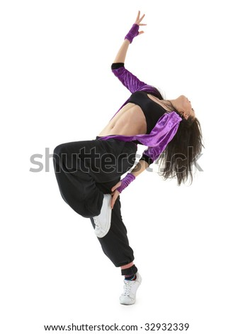 Young r'n'b dancer posing isolated on white background