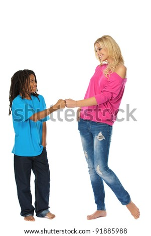 young rasta boy with his sister isolated on white