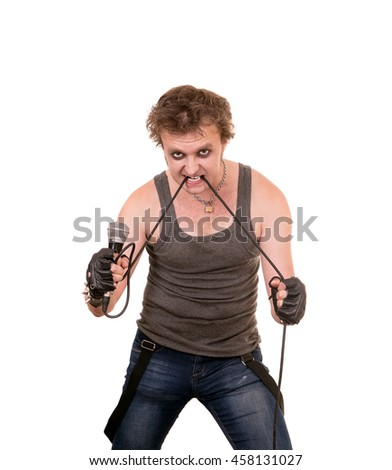 young rebel rock shows emotion on a white background