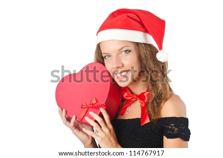 Young santa with giftbox on white