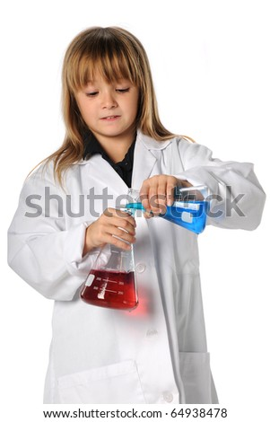 Young scientist mixing chemicals isolated over white background