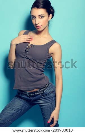 Young sexy woman wearing jeans