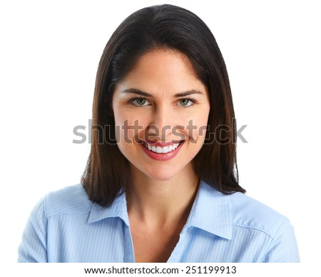 Young smiling business woman isolated on white background.