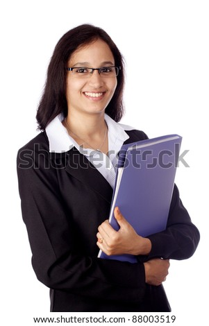Young smiling business woman with document folder