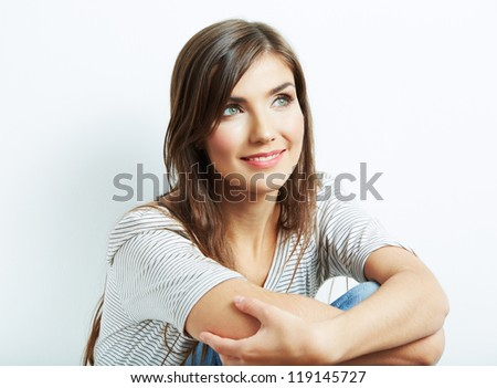 Young smiling happy woman portrait on white. isolated