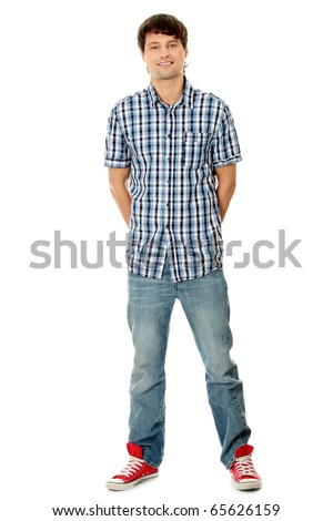 Young student man,isolated on a white background