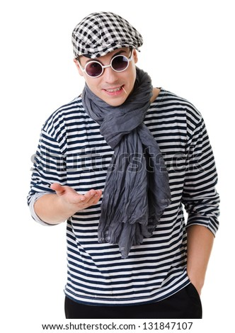 Young stylish talking in camera twister man in striped clothes isolated on white background