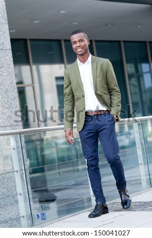 young successful african business man outdoor in summer self confident