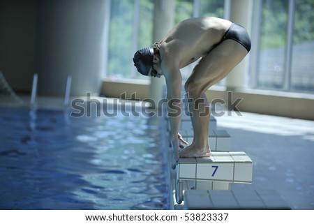 Young Swimmer On Swim Start Swimming Stock Photo 53823295 Shutterstock