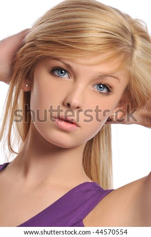 Young teen woman portrait isolated on a white background