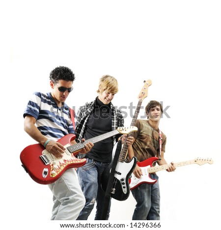 Young trendy team playing electric bass and guitars - isolated