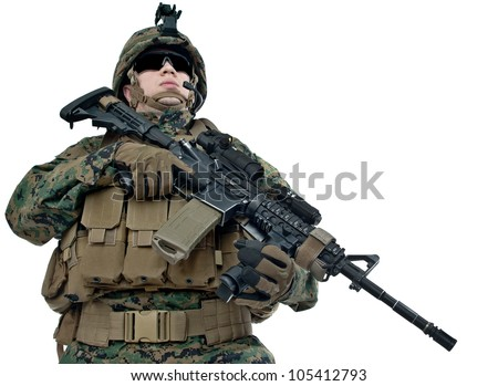 Young US soldier with his rifle on white background