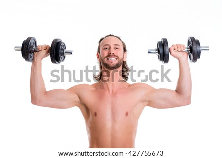 young white man with exercised body train with bar-bell