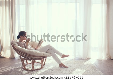 Young Woman Home Sitting On Modern Stock Photo 225967027 Shutterstock