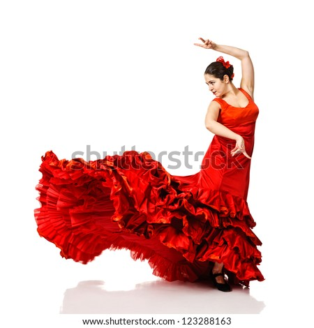 young woman dancing flamenco. Isolated on white