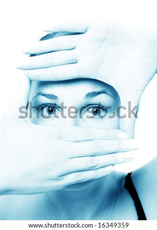 young woman gesturing against white background