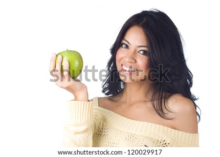 Young woman holding green apple  on  white background